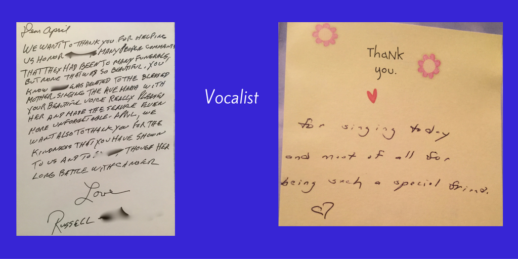 testimonials for vocalist at funeral